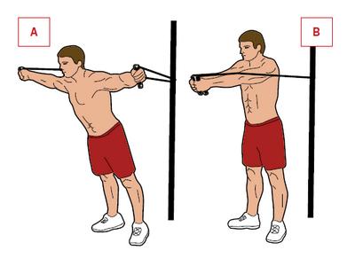 Ćwiczenie: rozpiętki.  Mięśnie: klatka, triceps. Zahacz skakankę na wysokości klatki o jakiś słupek. Złap rączki i stań tyłem do słupka, tak by skakanka była napięta, gdy lekko pochylony ułożysz się w kształt litery T [A]. Zbliż do siebie rączki skakanki, by Twoje ciało powróciło do pionu [B].