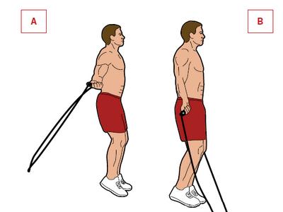 Ćwiczenie: podskoki.  Mięśnie: barki, łydki. Standardowe podskoki są najlepszym ćwiczeniem, rozwijającym obręcz barkową i łydki. Zacznij ze skakanką za Twoimi nogami. Podskocz [A], przerzucając linkę nad głową [B]. Skacz przez 3 min w 3 seriach. Zwiększaj stopniowo ilość serii.