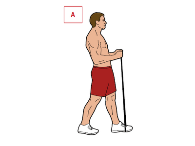 Ćwiczenie: uginanie ramion.  Mięśnie: biceps. Stań z jedną nogą wysuniętą przed drugą. Wykroczną nogą nadepnij na skakankę, rączki trzymaj w obu rękach. Ugnij ręce w łokciach, napinając bicepsy. Wstrzymaj ruch na 40 sekund i wróć do pozycji startowej [A].