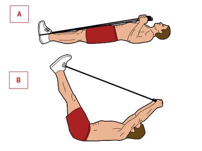 Ćwiczenie: unoszenie nóg leżąc.  Mięśnie: mięśnie brzucha. Połóż się na plecach, skakankę zahacz o stopy. Zblokuj kolana i złap rączki skakanki obiema rękoma. Linkę skakanki napnij [A]. Ściągnij skakankę, jednocześnie szybko unosząc nogi. Opuszczaj je przez 6 sekund [B].